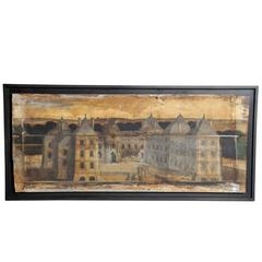 """French """"Boisserie"""" Painting on Hand-Scraped Walnut Wood"""