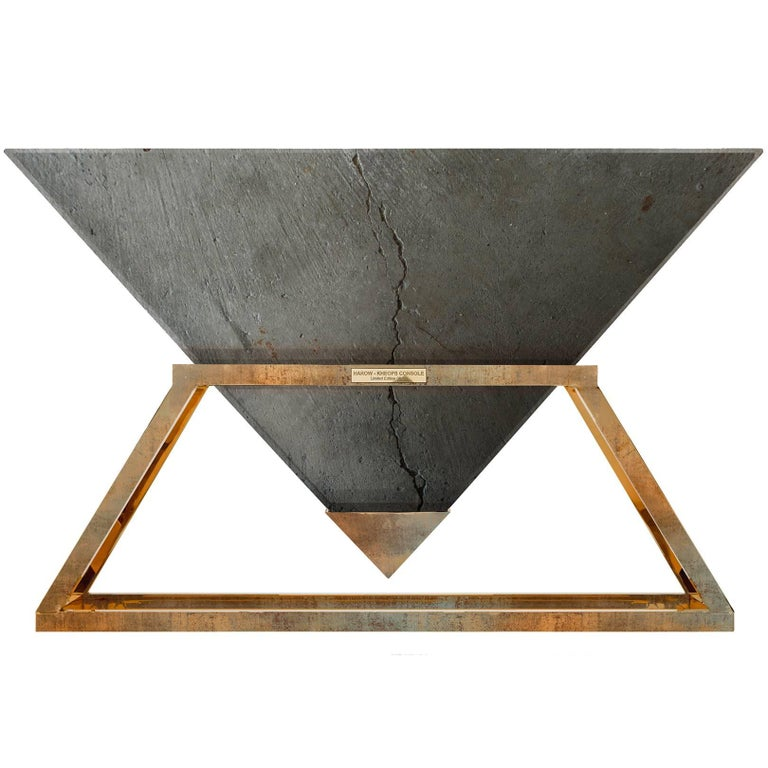 Contemporary Kheops Console Table in Concrete and Aluminum   For Sale