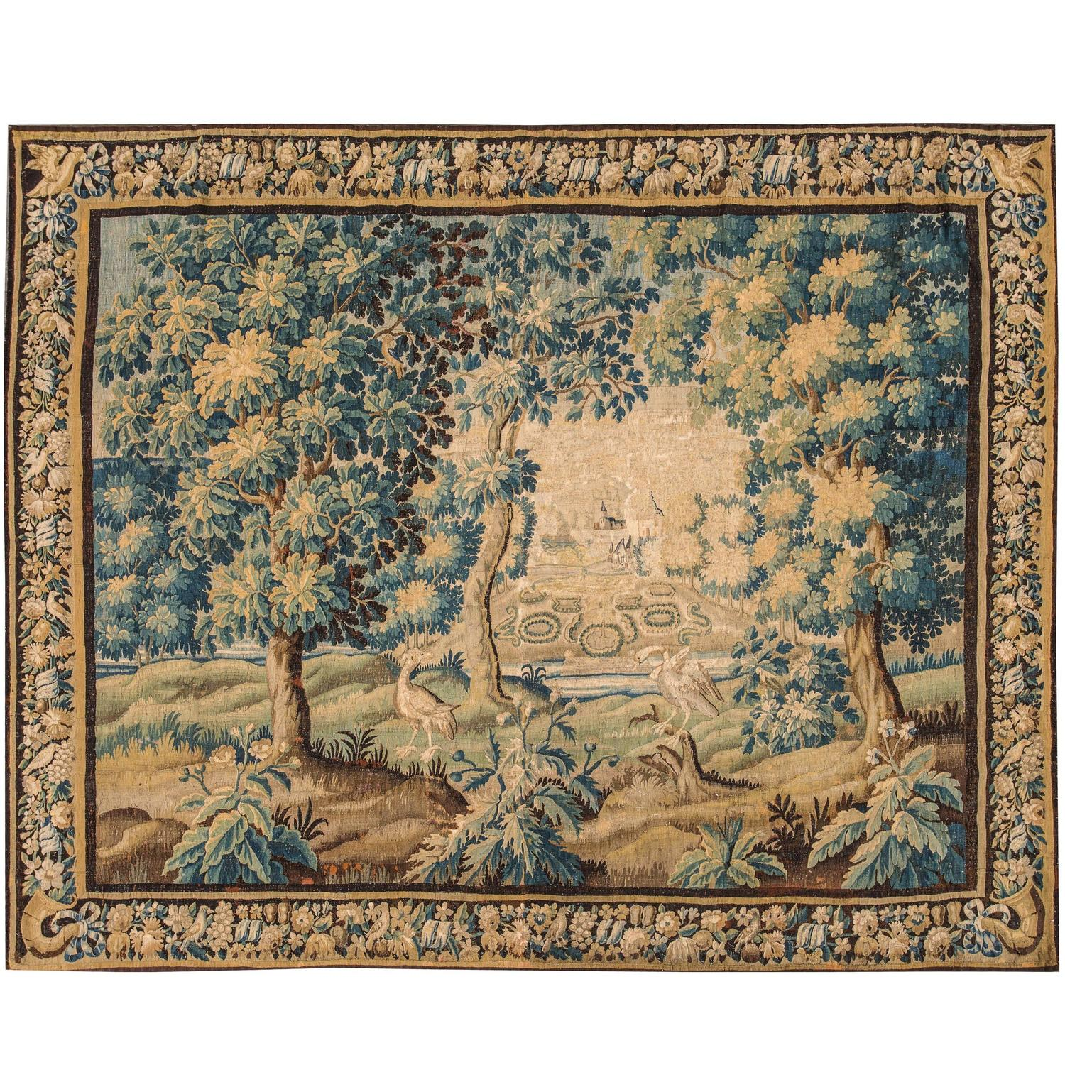 Antique Flemish Verdure Tapestry, 17th Century For Sale At 1stdibs
