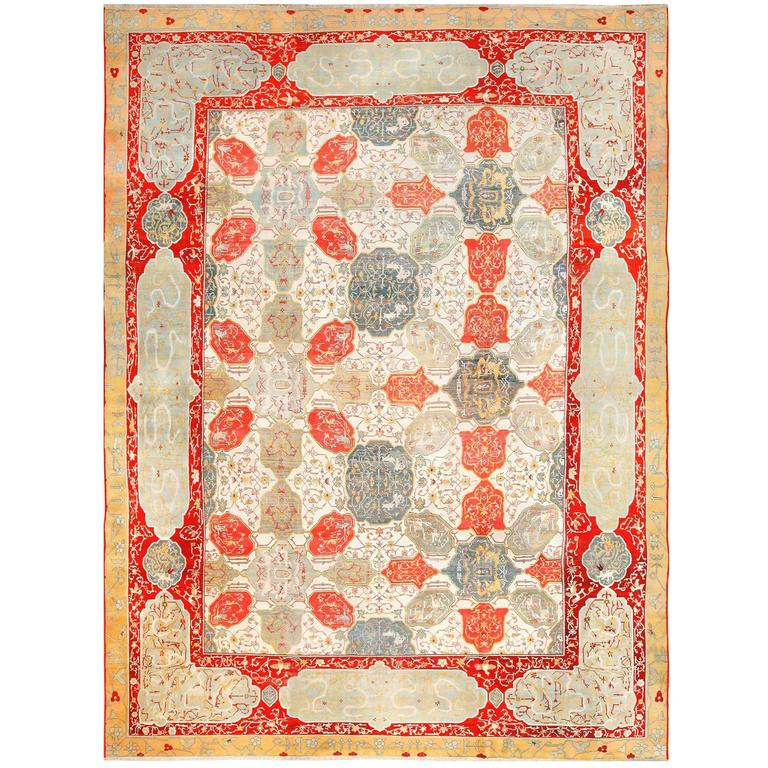 Antique Ivory Room Size Indian Agra Rug 1