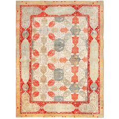 Antique Ivory Room Size Indian Agra Rug. Size: 11 ft 7 in x 15 ft 6 in