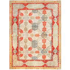 Antique Ivory Room Size Indian Agra Rug