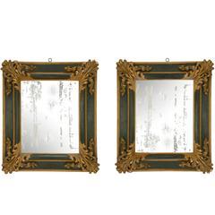 Pair of Italian 17th Century Baroque Period Patinated Mirrors