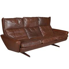 Atomic Brown Leather Sofa by Fredrik Kayser