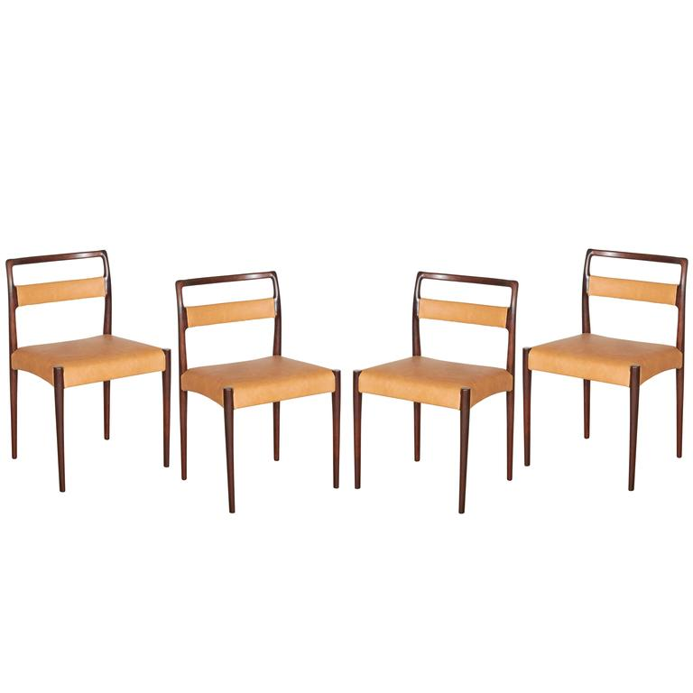 Danish Rosewood Dining Chairs, Set of 4 (12 Available) 1
