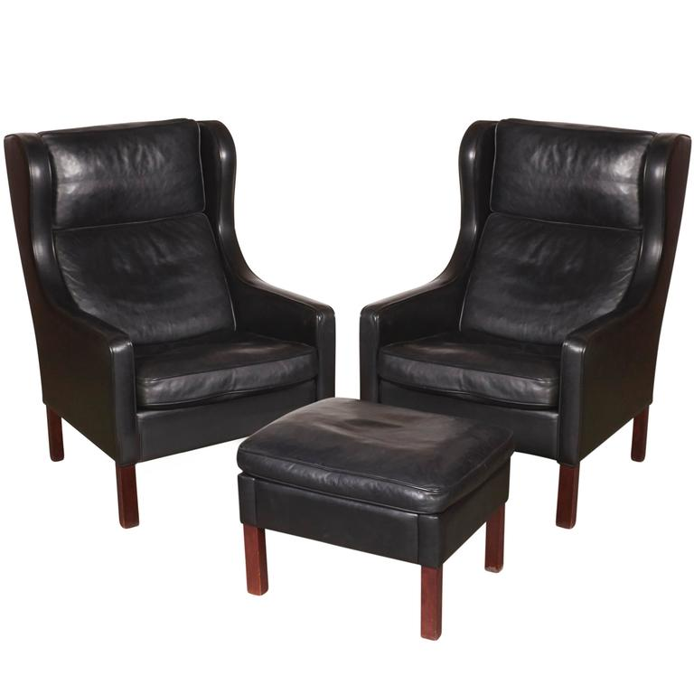 Mid Century Leather Wingback Chairs with Ottoman 1