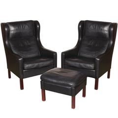 Mid Century Leather Wingback Chairs with Ottoman