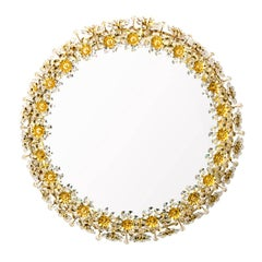 Midcentury Modern Palwa Back-Lit Gilded Round Mirror with Flowers and Crystals
