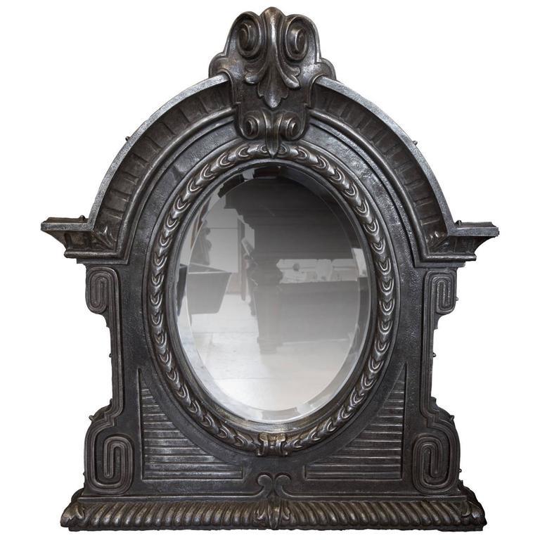 Antique 19th Century Cast Iron Mirror For Sale