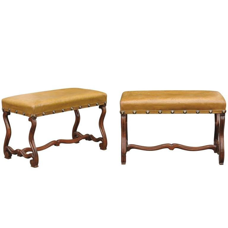 Pair Of French Leather Upholstered Mutton Leg Walnut