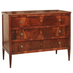 Italian Early 19th Century Walnut Commode, Tapered Legs and Inlaid Escutcheons