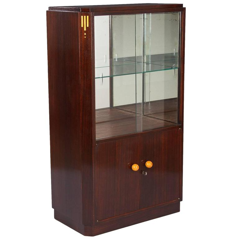 1930s french art deco rosewood bar or vitrine cabinet for for Decoration vitrine