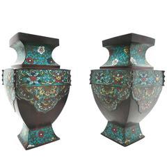 Pair of Antique Asian Bronze Urns with Cloisonné