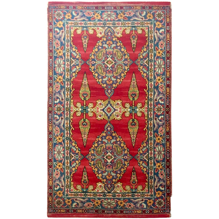 Early 20th Century Silk & Wool Paisley Blossom Rug For Sale