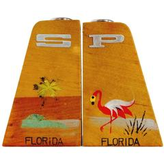 Vintage Teak Hand-Painted Florida Souvenir Salt and Pepper Shakers