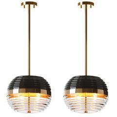 Pair of European Modern Art Deco Black, Gold, Glass Round Brando Pendants