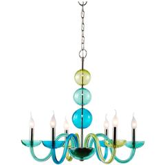 Large European Modern Glass, Brass and Nickel Tricia Six-Light Chandelier