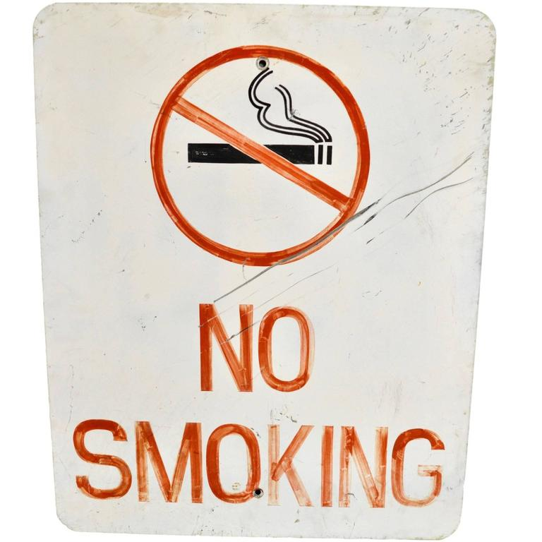 Vintage Hand-Painted No Smoking Sign