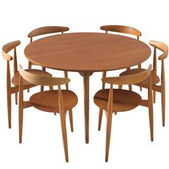 Hans Wegner Dining Set with Heart Chairs