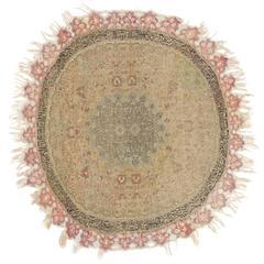 Silk and Metal Thread Round Turkish Rug, 19th Century