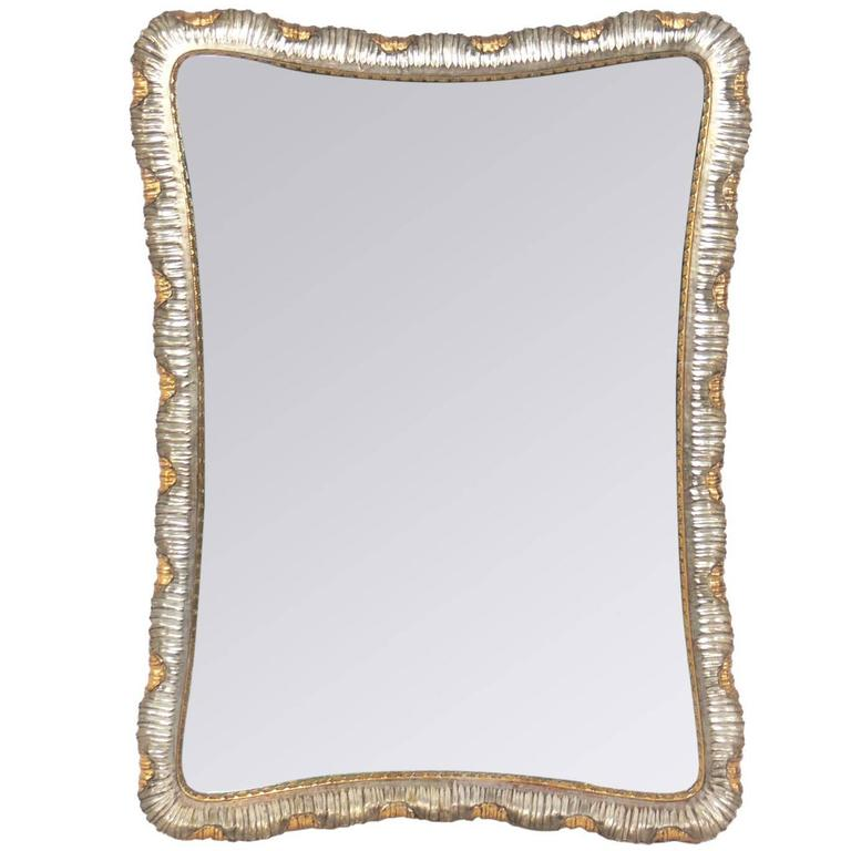 Silver and Gold Leafed Venetian Scalloped Mirror 1
