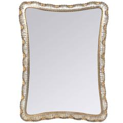 Silver and Gold Leafed Venetian Scalloped Mirror