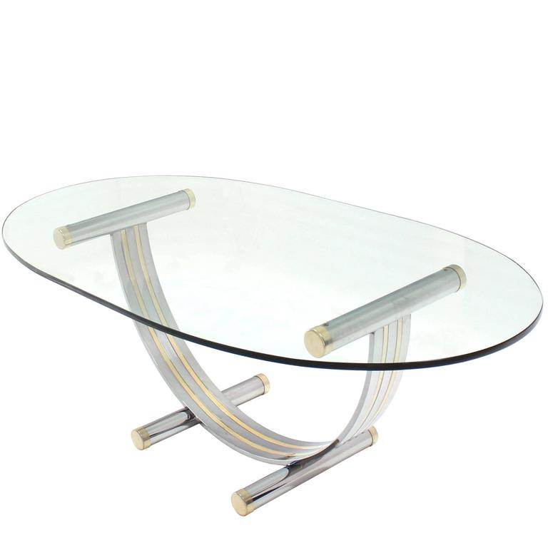 Large Oval Glass Brass Chrome Dining Conference Table MidCentury - Oval glass conference table