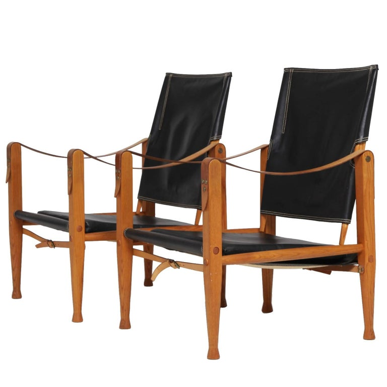 Pair of Kaare Klint Safari Chairs, Made by Rud Rasmussen, Denmark