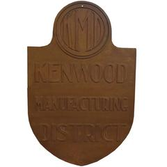 Cast Iron Kenwood Manufacturing District Sign