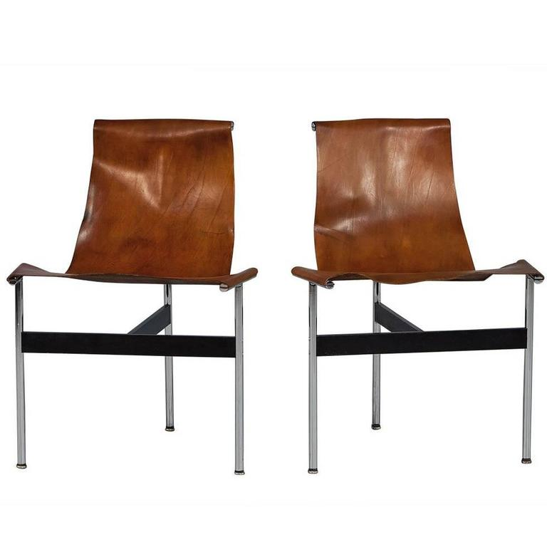 Pair of William Katavolos Leather Sling T-Chairs For Sale