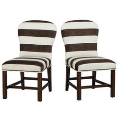 Pair of Brown and White Stripped Parsons Chairs