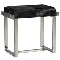 Modern Black Hide and Brushed Stainless Steel Stool