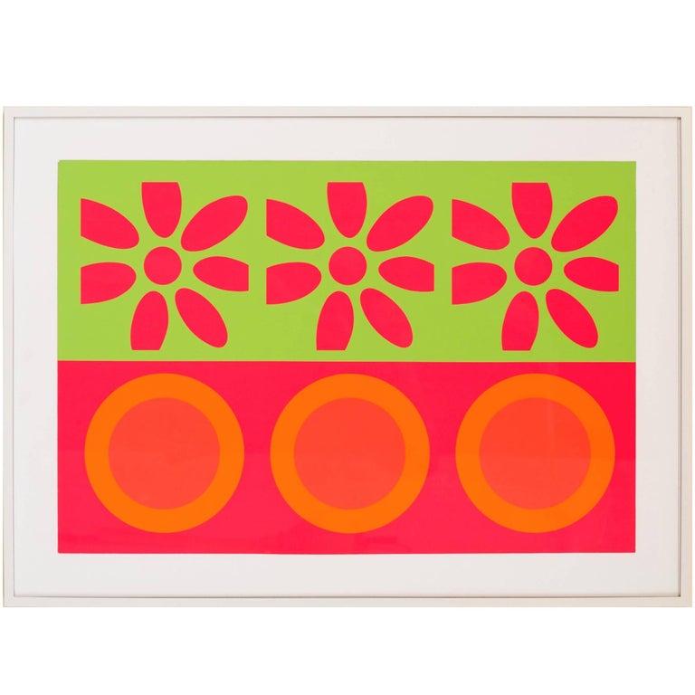 Peter Gee Target and Daisies Silkscreen Pop Art For Sale
