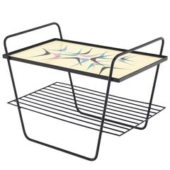 Abstract Design Glass Top Wire Shelf Mid-Century Modern Side Table Tray