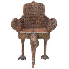 Anglo Indian Carved Peacock Chair