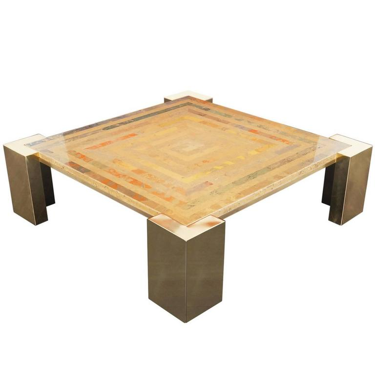 Italian Ottoman Coffee Table: Exceptional Italian Brass Coffee Table By Marcello Mioni