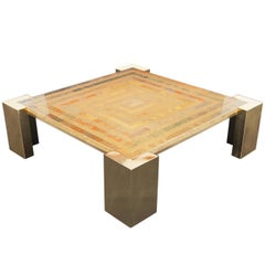 Exceptional Italian Brass Coffee Table by Marcello Mioni