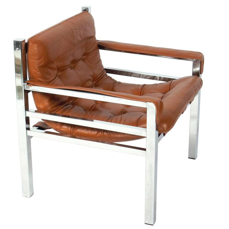 Clean Lined Cognac Leather And Chrome Lounge Chair At 1stdibs