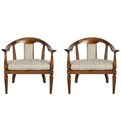 Pair of Cane and Walnut Armchairs Attributed to Harvey Probber, circa 1960