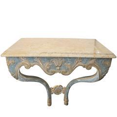 Elegant Custom-Made Italian Baroque Style Aqua and Ochre Painted Console Table