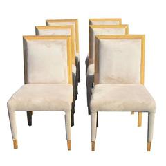 Eight Zebrawood Dining Chairs in Suede