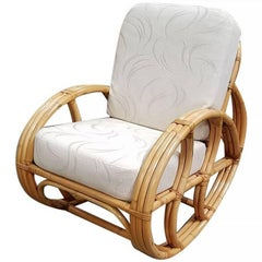 Restored Franco Albini-Style Rattan Rocking Chair with White Cushions