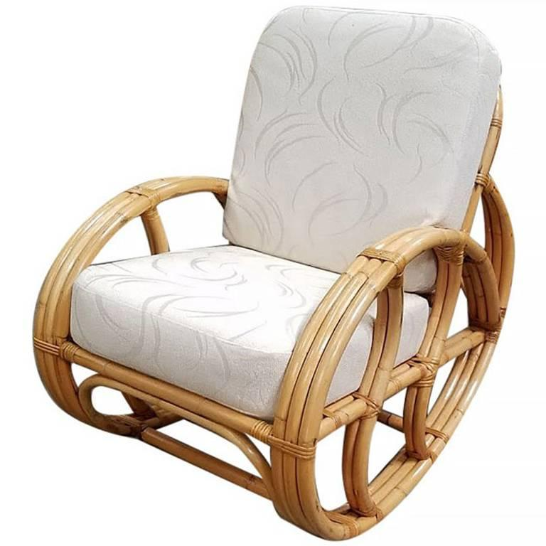 Restored Franco Albini Style Rattan Rocking Chair With White Cushions