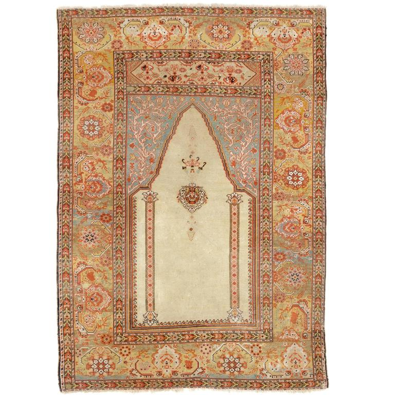 Turkish Rug Covered Ottoman: Antique Ottoman Ghiordes Prayer Rug For Sale At 1stdibs
