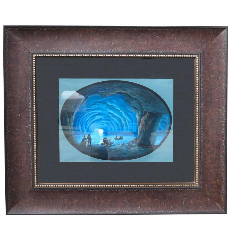 19th Century Italian gouache of Blue Grotto, circa 1840