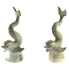 Pair of Fishes Ceramic Sculpture or Garniture