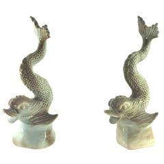 Pair of Fishes Ceramic Sculpture or Garniture