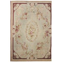 Late 19th Century French Romanticism Antique Aubusson Rug