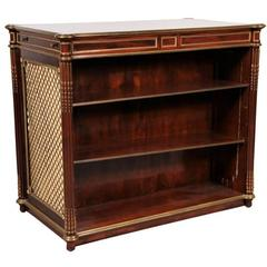 Fine Bronze Banded Mahogany Directoire Style Double Sided Bar Cabinet