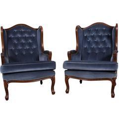 Pair of Vintage European Blue Mohair Wingchairs